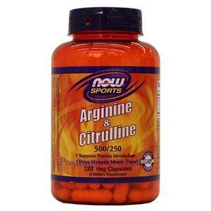 Picture of Now Foods Arginine & Citrulline 500/250mg 120 Capsules