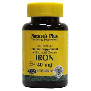 Picture of Nature's Plus Iron 40 mg 180 Vegetarian Tablets