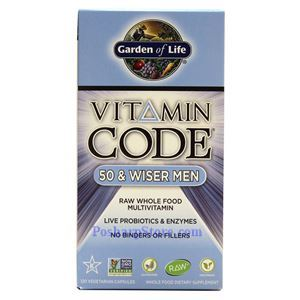 Picture of Garden of Life Vitamin Code 50 & Wiser Men Raw Whole Food Multivitamin 120 Veg Capsules