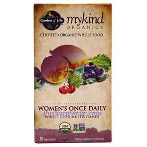 Picture of Garden of Life mykind Organics Women's Once Daily Whole Food Multivitamins 30 Veg Tablets