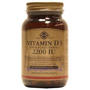 Picture of Solgar Vitamin D3 (Cholecalciferol) 2200 IU 100 Vegetable Capsules