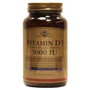 Picture of Solgar Vitamin D3 (Cholecalciferol) 5000 IU 240 Vegetable Capsules