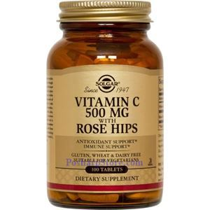Picture of Solgar Vitamin C 500 mg with Rose Hips 100 Tablets