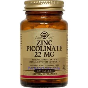 Picture of Solgar Zinc Picolinate 22 mg 100 Tablets