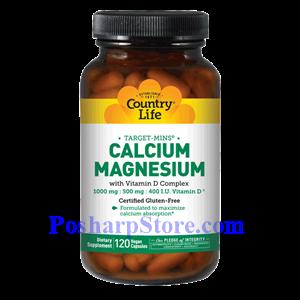 Picture of Country Life Calcium Magnesium with Vitamin D Complex 120 Vegetarian Capsules
