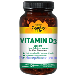Picture of Country Life Vitamin D3 1000 IU 100 Softgels