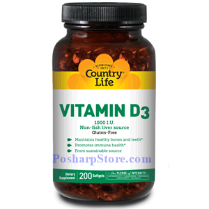 Picture of Country Life Vitamin D3 1000 IU 200 Softgels