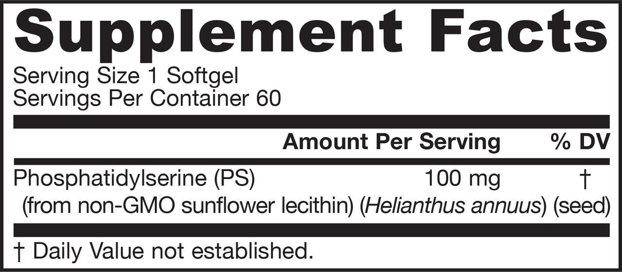Picture for category Jarrow Formulas PS 100 (Phosphatidylserine) 100mg 60 Softgels