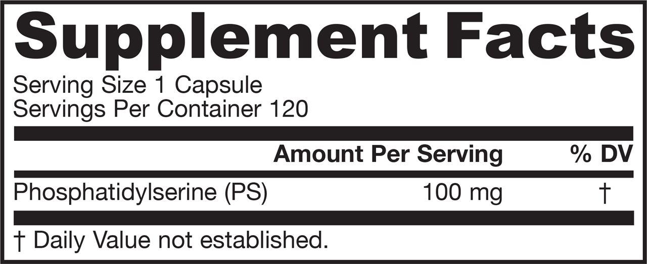Picture for category Jarrow Formulas PS 100 (Phosphatidylserine) 100mg 120 Softgels
