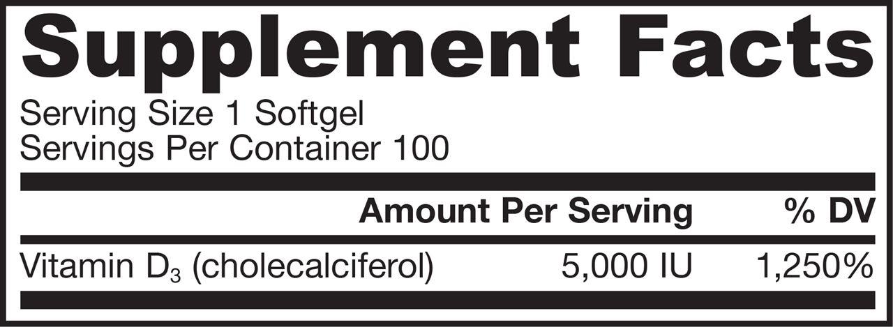 Picture for category Jarrow Formulas Vitamin D3 5000IU 100 Softgels