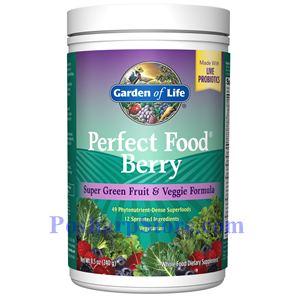 Picture of Garden of Life Perfect Food Berry Super Green Fruit & Veggie Formula Powder 8.5 oz
