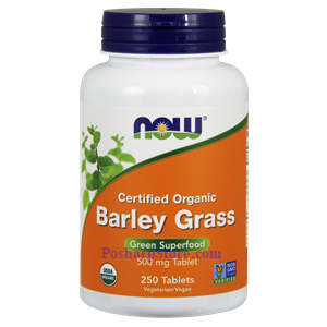 Picture of Now Foods Certified Organic Barley Grass 500 mg 250 Tablets