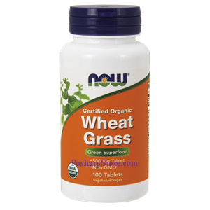 Picture of Now Foods Certified Organic Wheat Grass 500 mg 100 Tablets