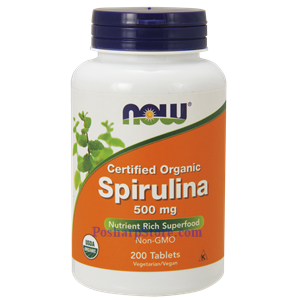 Picture of Now Foods Certified Organic Spirulina Powder 500 mg 200 Tablets