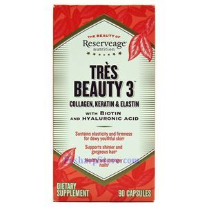Picture of ReserveAge Tres Beauty 3 (Collagen, Keratin & Elastin) with Biotin and Hyaluronic Acid 90 Veg Capsules
