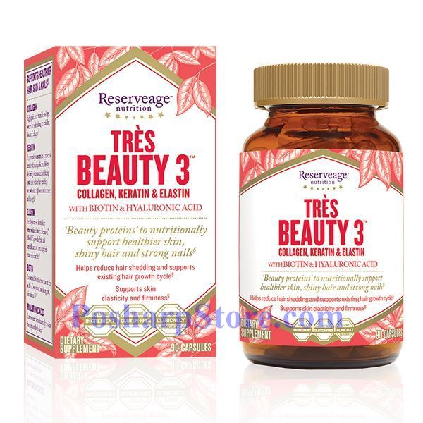Picture for category ReserveAge Tres Beauty 3 (Collagen, Keratin & Elastin) with Biotin and Hyaluronic Acid 90 Veg Capsules