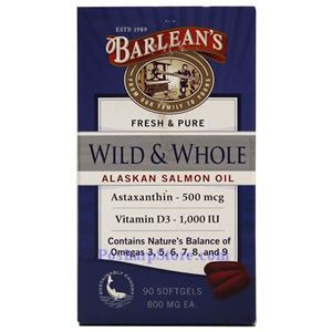 Picture of Barlean's Fresh & Pure Wild & Whole Alaskan Salmon Fish Oil  90 Softgels