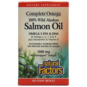 Picture of Natural Factors Complete Omega 100% Wild Alaskan Salmon Oil 1300mg 90 Softgels