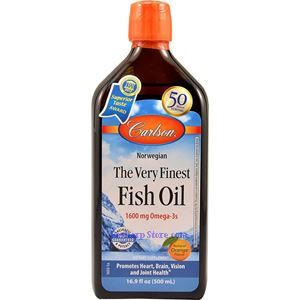 Picture of Carlson Norwegian Very Finest Fish Oil Lemon Flavor 1600mg 16.7 Fl Oz