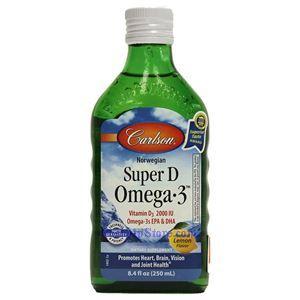 图片 Carlson牌那威浓缩Omega-3 + 维他命D深海鱼油液体 柠檬味 250毫升