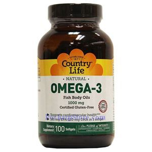 Picture of Country Life Natural Omega-3 Fish Body Oil 1000 mg 100 Softgels