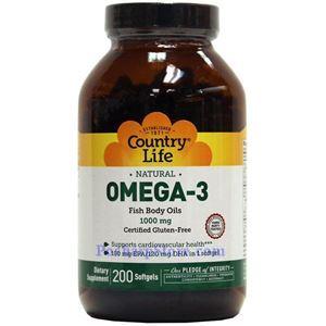 图片 Country Life牌天然Omega-3深海鱼油软胶囊 1000毫克 200粒