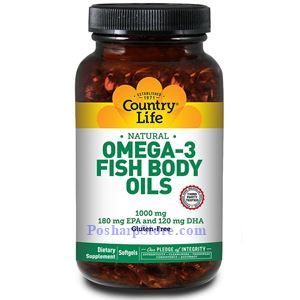 Picture of Country Life Natural Omega-3 Fish Body Oil 1000 mg 300 Softgels
