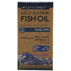 图片 Wiley's Finest牌美国阿拉斯加野生深海鱼油最浓EPA软胶囊 1250毫升 60粒