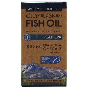 图片 Wiley's Finest牌美国阿拉斯加野生深海鱼油最浓EPA软胶囊 1250毫升 30粒