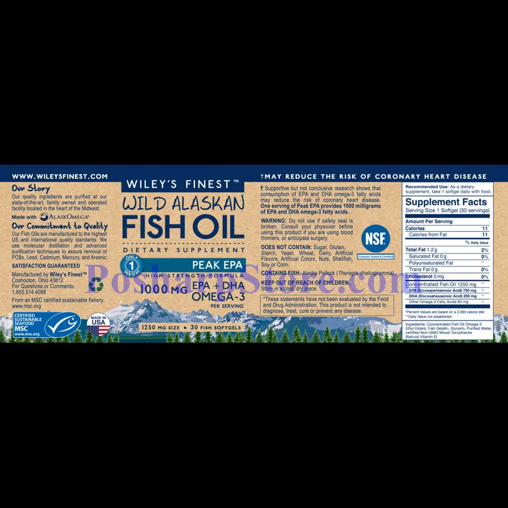 分类图片 Wiley's Finest牌美国阿拉斯加野生深海鱼油最浓EPA软胶囊 1250毫升 30粒