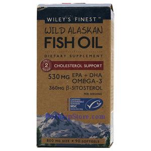 Picture of Wiley's Finest Wild Alaskan Fish Oil Cholesterol Support 800 mg 90 Softgels