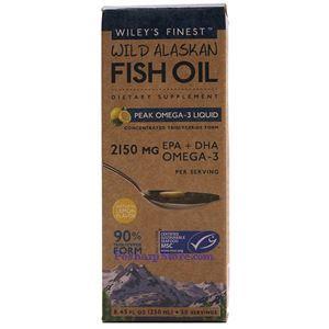 图片 Wiley's Finest牌美国阿拉斯加野生深海鱼油最浓Omega-3液体 柠檬味 2150毫升 250毫升
