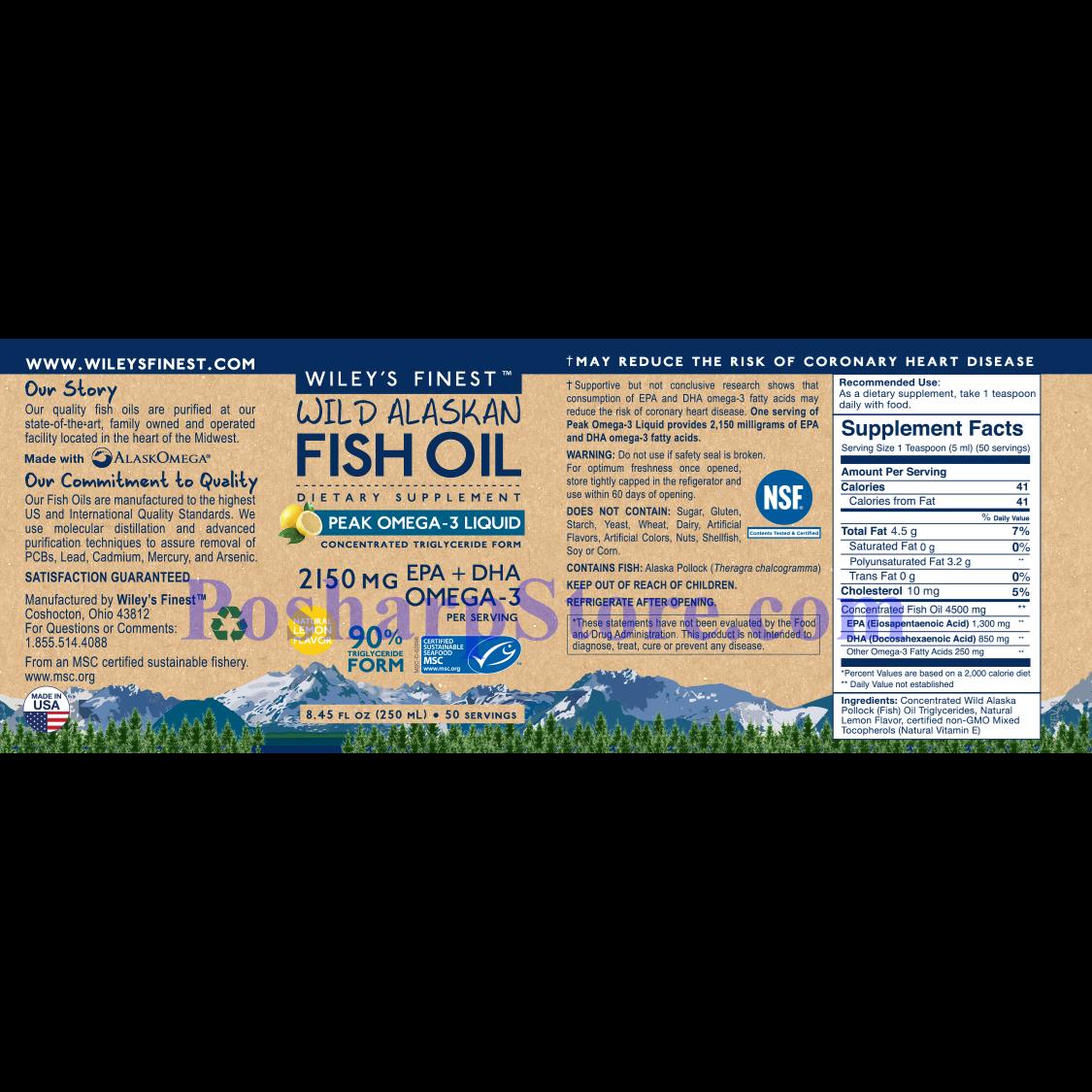 分类图片 Wiley's Finest牌美国阿拉斯加野生深海鱼油最浓Omega-3液体 柠檬味 2150毫升 250毫升