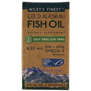 Picture of Wiley's Finest Wild Alaskan Fish Oil Easy Swallow Minis  630 mg 60 Softgels