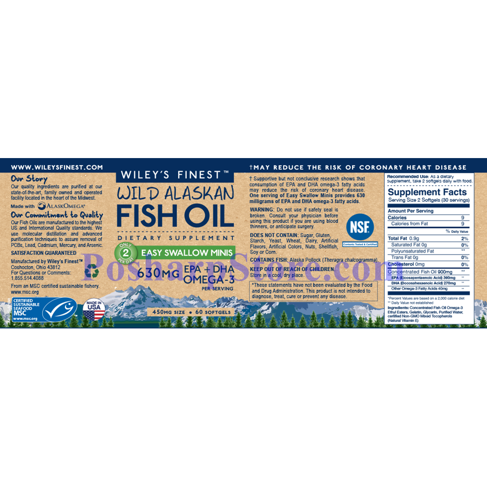 Picture for category Wiley's Finest Wild Alaskan Fish Oil Easy Swallow Minis  630 mg 60 Softgels