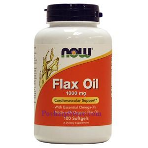 Picture of Now Foods Flax Oil 1000 mg 100 Softgels