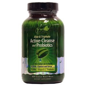 Picture of Irwin Naturals Aloe & Triphala Active-Cleanse and Probiotics 60 Liquid Softgels