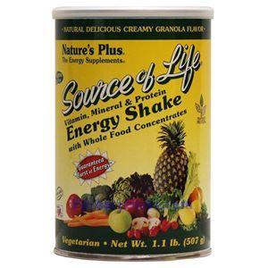 图片 Nature's Plus牌Source of Life生命之源系列植物蛋白能量奶昔 乳脂麦片味 507克 13次用量