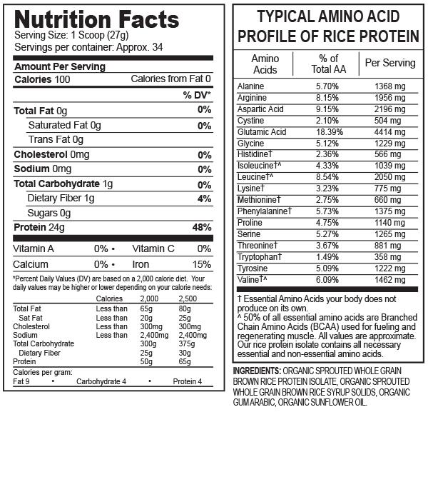 分类图片 Growing Naturals牌大米分离蛋白粉 原味 918克 34次用量