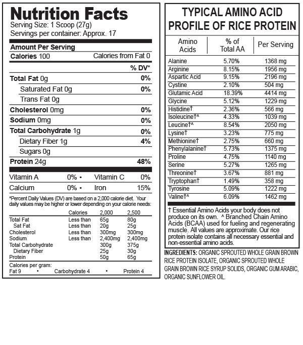 分类图片 Growing Naturals牌大米分离蛋白粉 原味 459克 17次用量