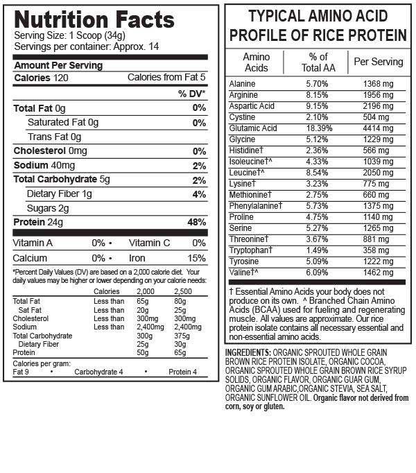 分类图片 Growing Naturals牌大米分离蛋白粉 巧克力味 476克 14次用量