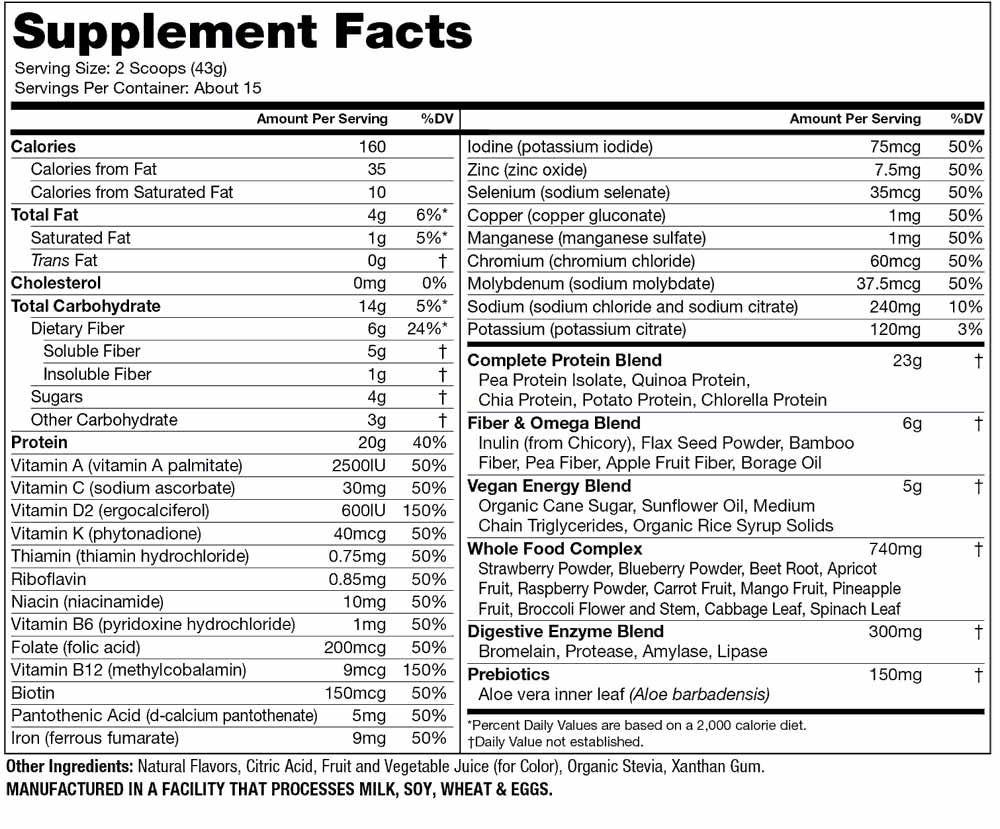 分类图片 Naturade牌VeganSmart系列复合植物蛋白营养奶昔 野莓味 645克 15天用量
