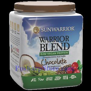 Picture of Sunwarrior Warrior Blend Raw Vegan Protein Chocolate Flavor 17.6 oz