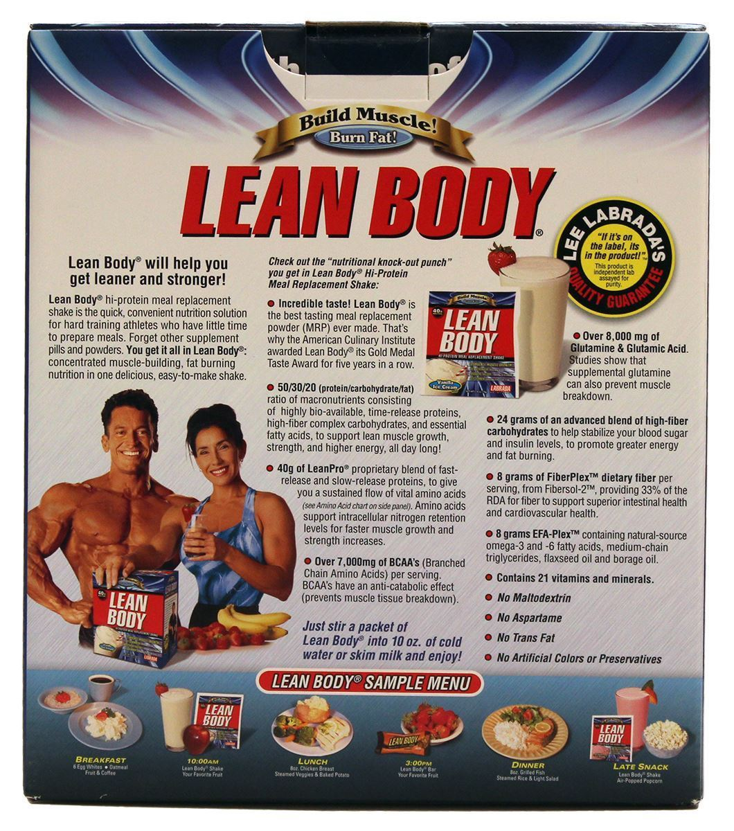 Picture for category Labrada Lean Body Build Muscle Hi-Protein MRP Shake Strawberry Ice Cream Flavor 3.48 Lbs 20 Packets