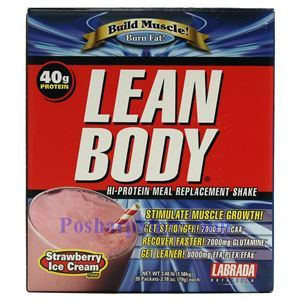 Picture of Labrada Lean Body Build Muscle Hi-Protein MRP Shake Strawberry Ice Cream Flavor 3.48 Lbs 20 Packets