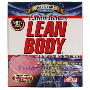 Picture of Labrada CarbWatchers Lean Body Hi-Protein MRP Shake Strawberry Ice Cream Flavor 2.87 Lbs 20 Packets