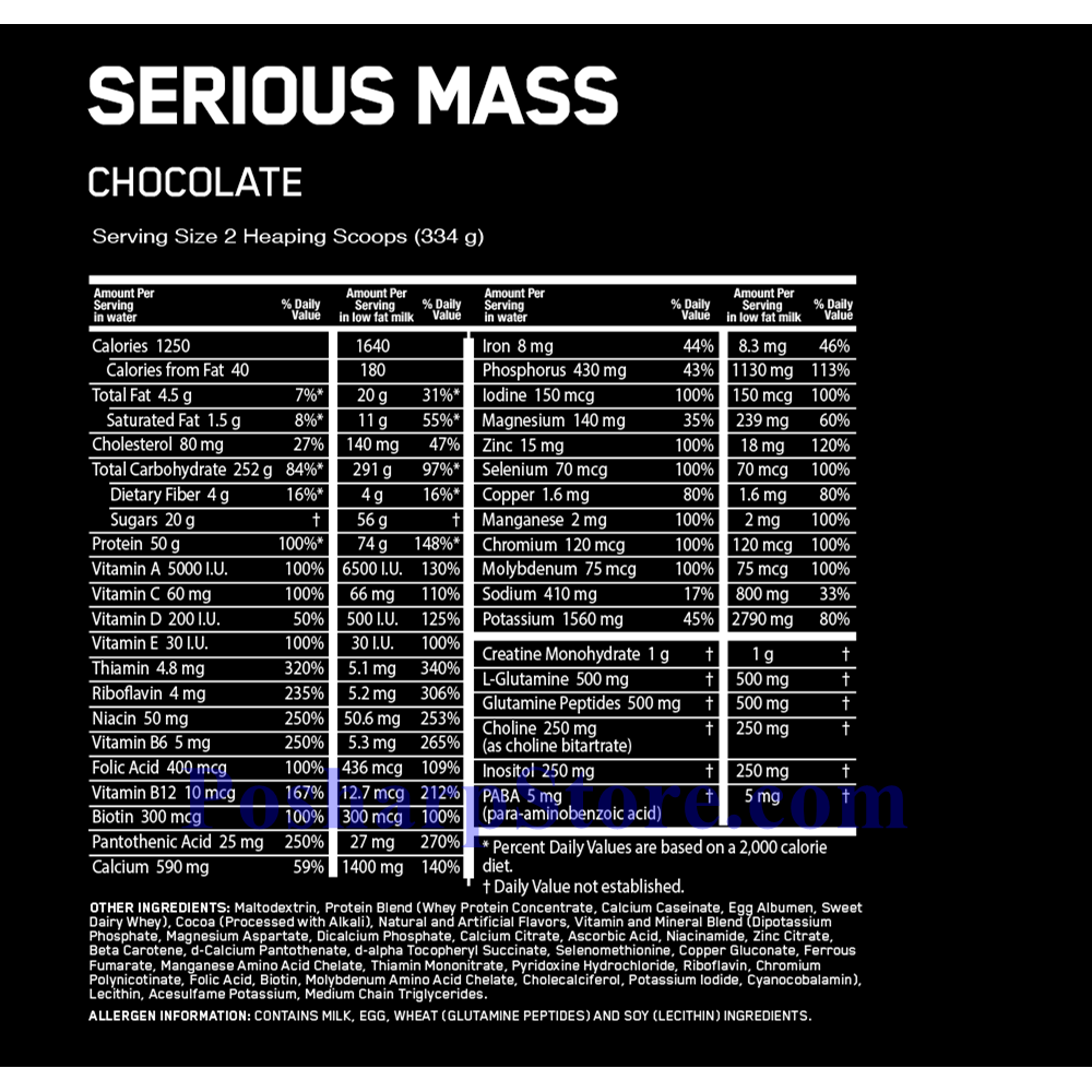 Picture for category Optimum Nutrition Serious Mass High Protein Weight Gain Powder Chocolate Flavor 6 lbs