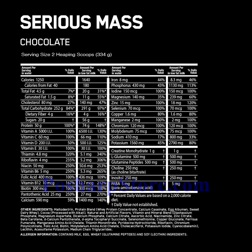 分类图片 Optimum Nutrition牌Serious Mass增肌系列高蛋白增肌粉 巧克力味 2720克