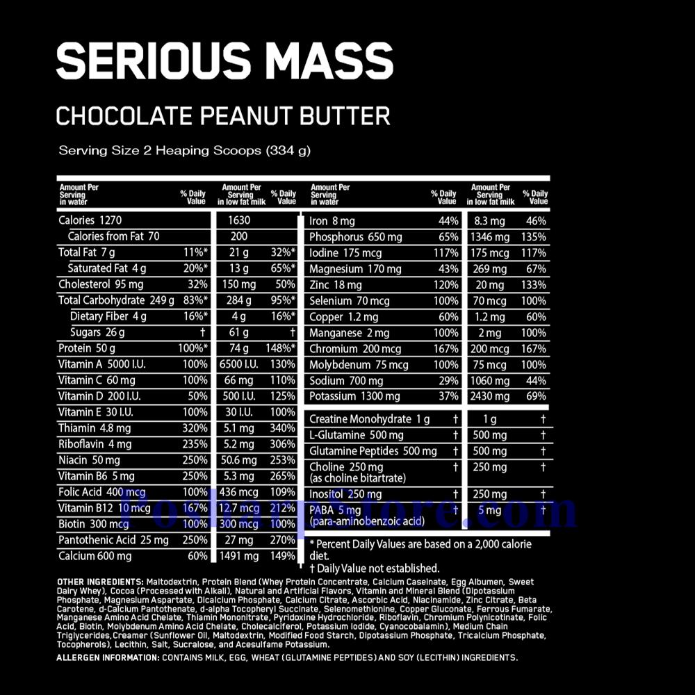 分类图片 Optimum Nutrition牌Serious Mass增肌系列高蛋白增肌粉 巧克力花生味 2720克