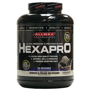 Picture of ALLMAX Hexapro Ultra-Premium 6-Protein Blend Cookie & Cream Milkshake 5.5 lbs 56 Servings